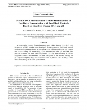 Plasmid DNA Production for Genetic Immunization in Fed-Batch Fermentation with Feed Back Controls Based on Dissolved Oxygen (DO) and pH