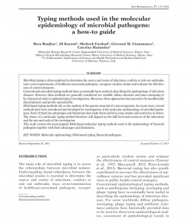 Typing methods used in the molecular epidemiology of microbial pathogens: a how-to guide.